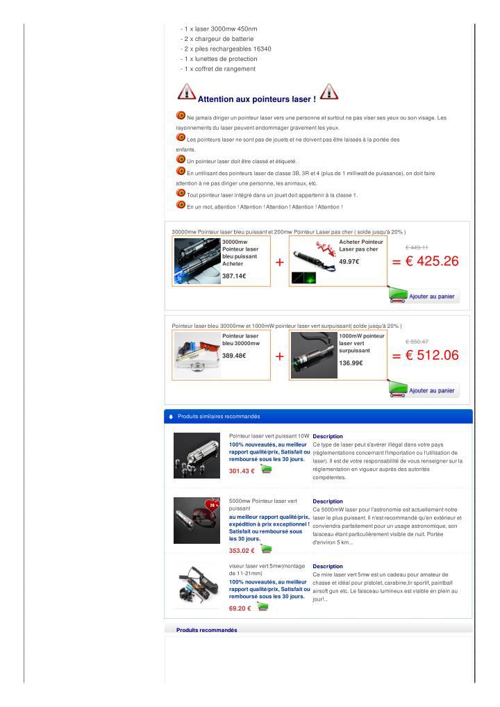 - 1 x laser 3000mw 450nm