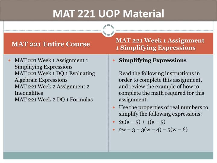 MAT 221 UOP Material