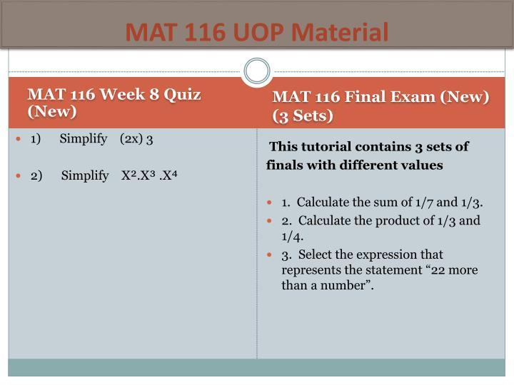 MAT 116 UOP Material