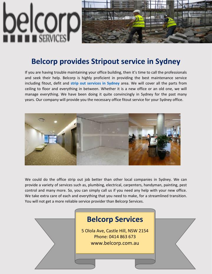 Belcorp provides Stripout service in Sydney