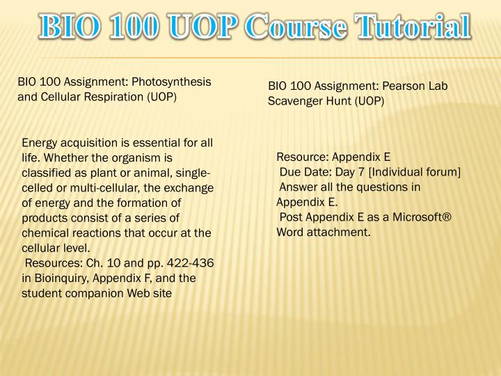 Bio 100 uop course tutorial1