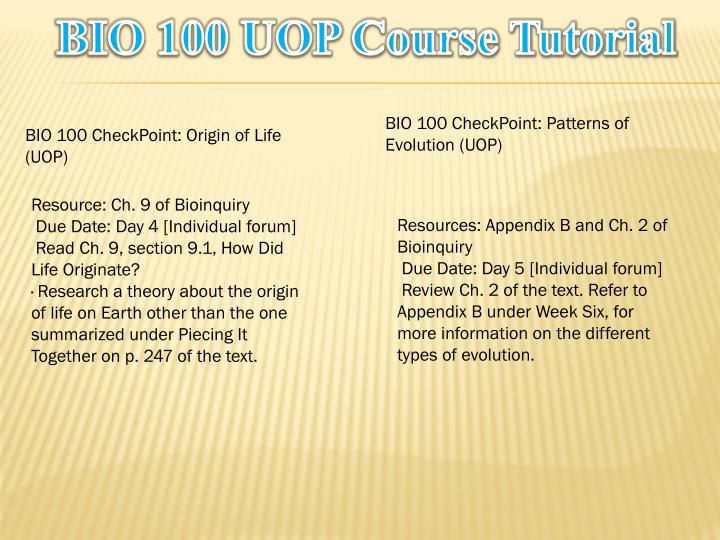 BIO 100 UOP Course Tutorial