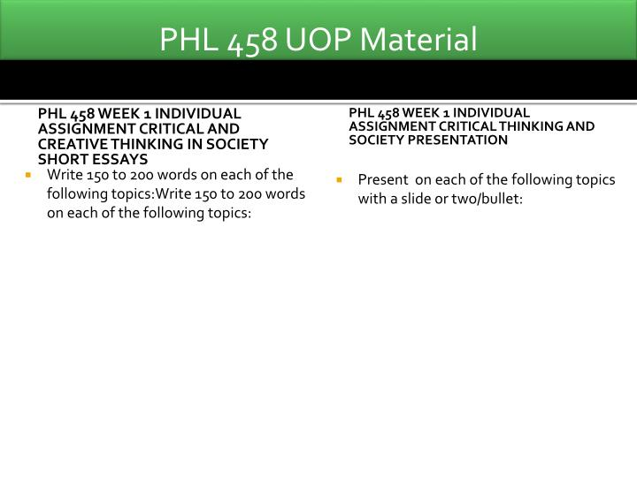 phl 458 critical thinking and society exercise