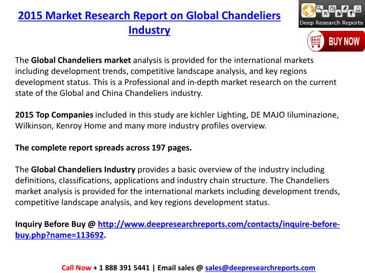 2015 Market Research Report on Global Chandeliers Industry