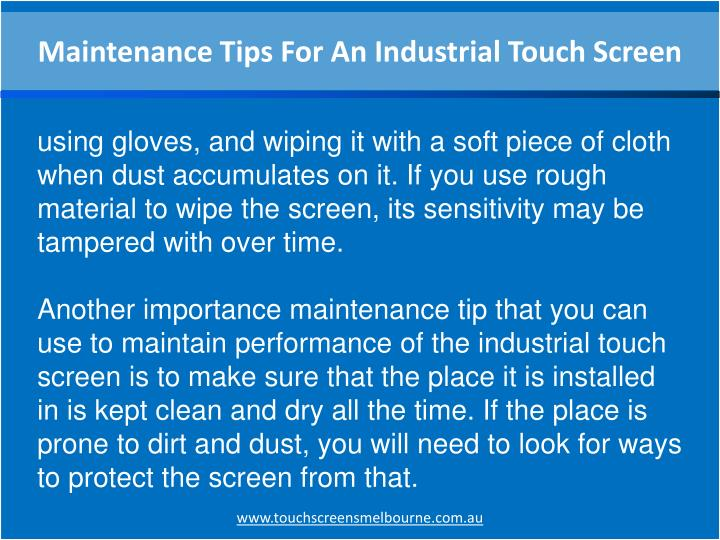 Maintenance Tips For An Industrial Touch Screen