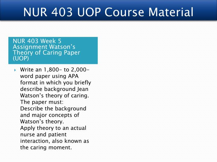 nur403 nursing theory grid Nursing theorist grid theorist selected: description of key points of the theory: theory's historical background: complete   uopx material.