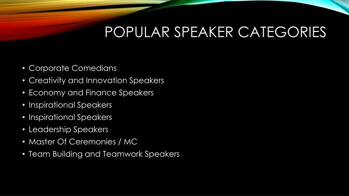 POPULAR SPEAKER CATEGORIES