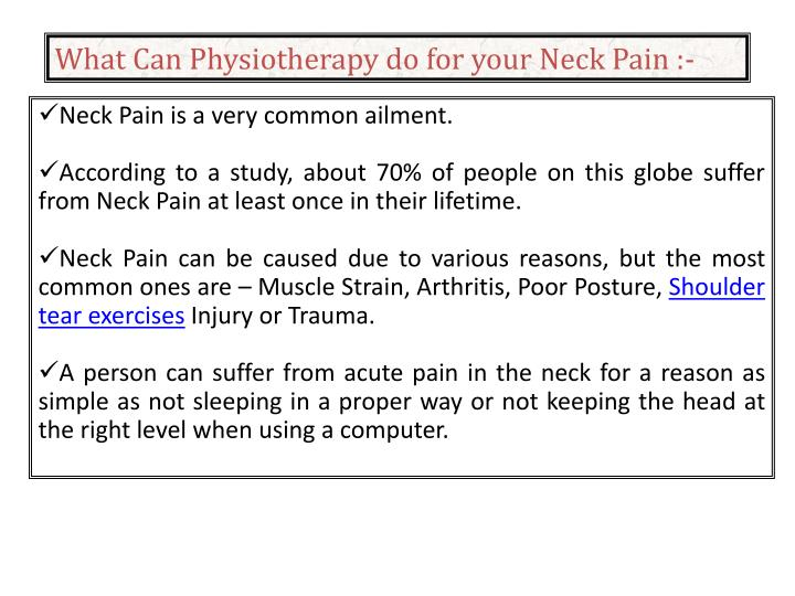 What Can Physiotherapy do for your Neck Pain :-