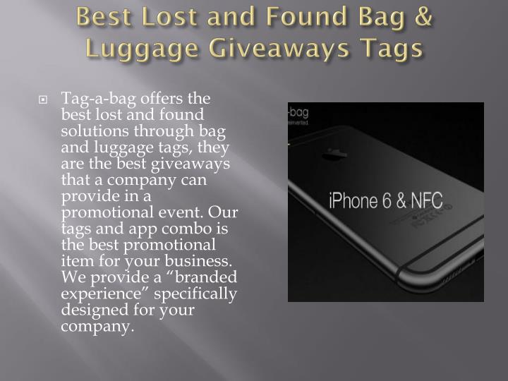 Best lost and found bag luggage giveaways tags
