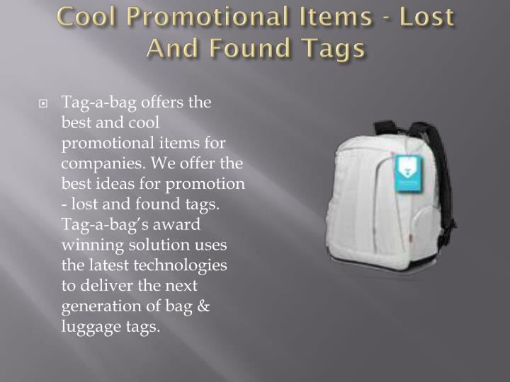 Cool Promotional Items - Lost And Found Tags