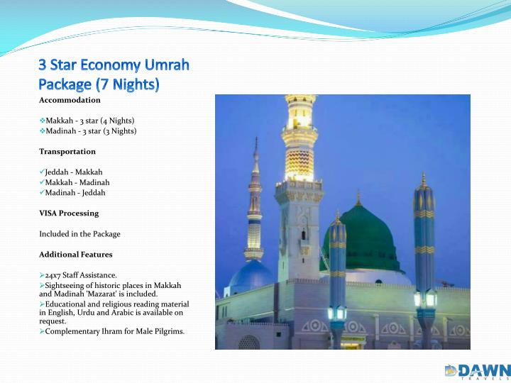 3 star economy umrah package 7 nights