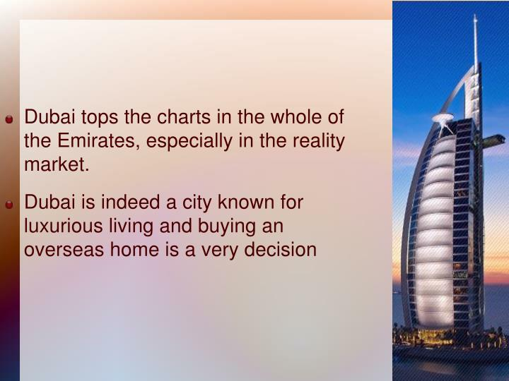 Dubai tops the charts in the whole of the Emirates, especially in the reality market.