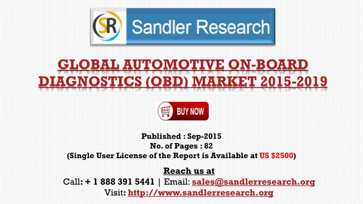 Global automotive on board diagnostics obd market 2015 2019