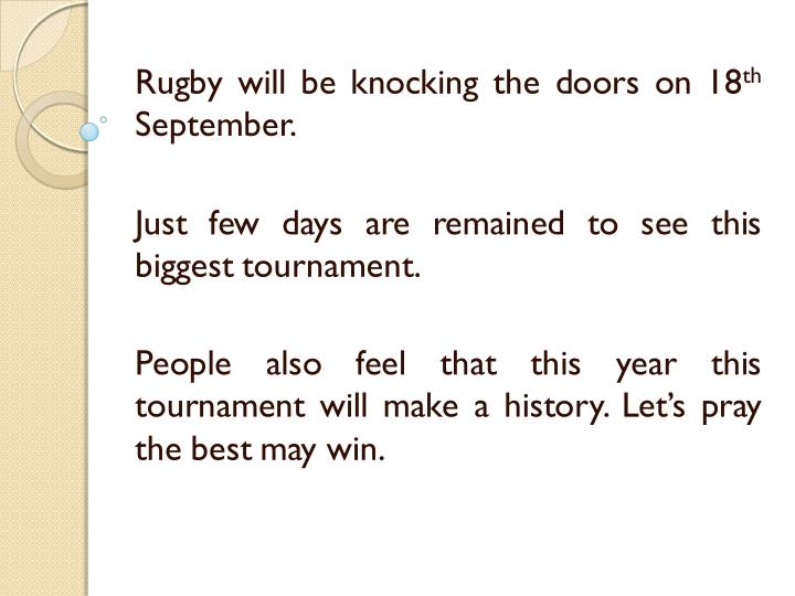 Rugby will be knocking the doors on 18