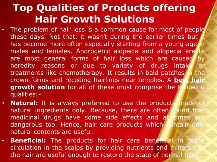 Top qualities of products offering hair growth solutions