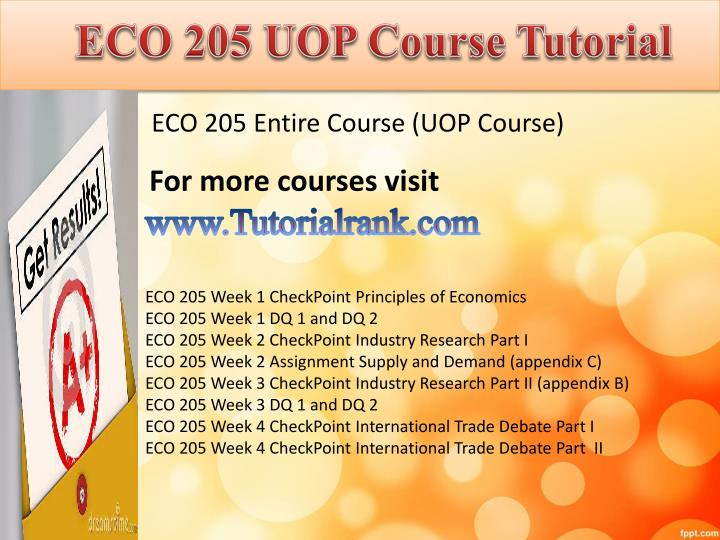 Eco 205 uop course tutorial