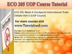 eco 205 uop course tutorial9