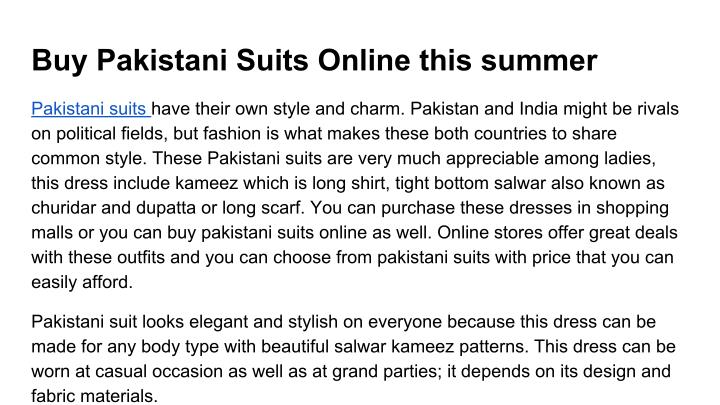 Buy Pakistani Suits Online this summer