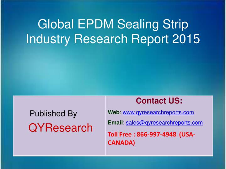 Global EPDM Sealing Strip