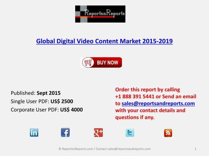 Global digital video content market 2015 2019