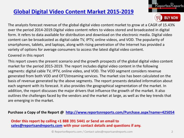 Global digital video content market 2015 20191