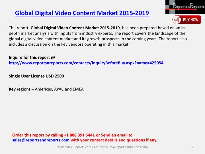 Global digital video content market 2015 20192