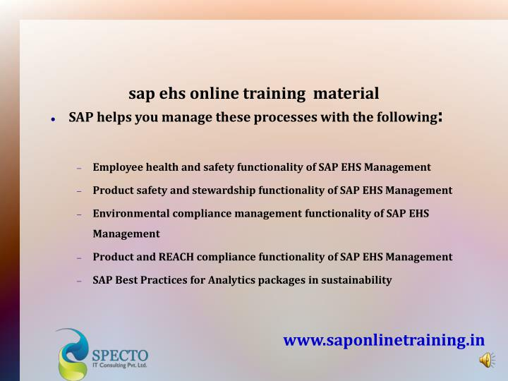 sap ehs online training  material