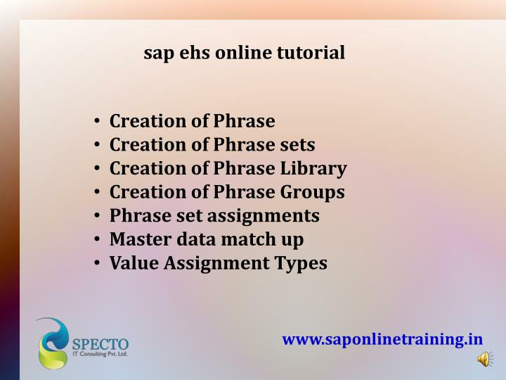 sap ehs online tutorial