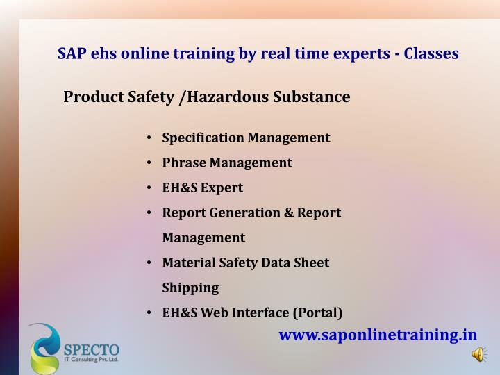 SAP ehs online training by real time experts - Classes