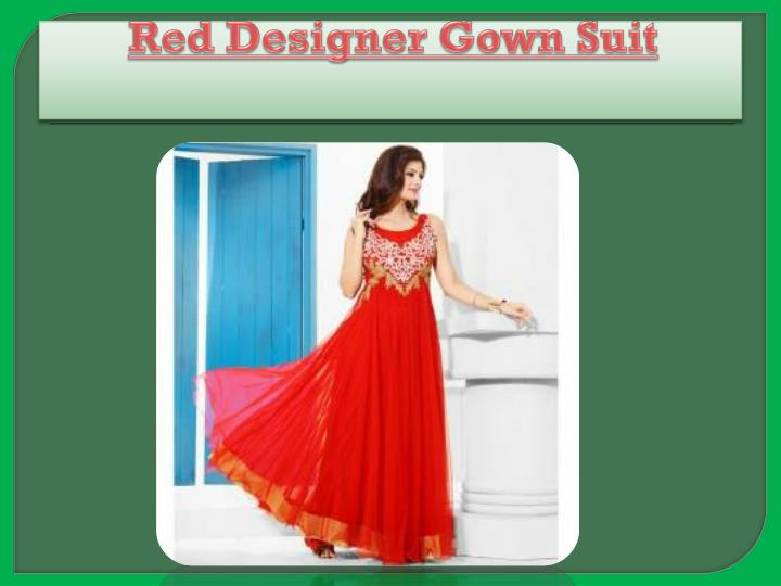 Red designer gown suit