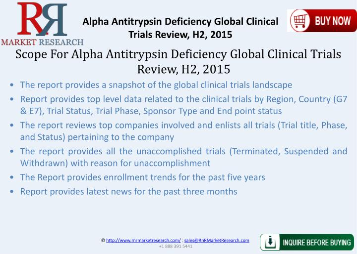 Alpha Antitrypsin Deficiency Global Clinical Trials Review, H2, 2015
