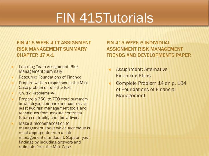 FIN 415Tutorials