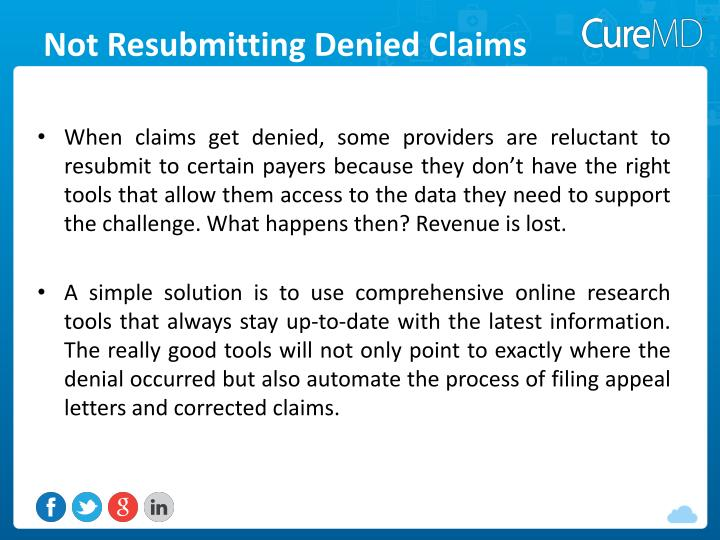 Not Resubmitting Denied Claims