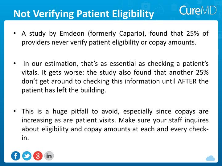 Not Verifying Patient Eligibility