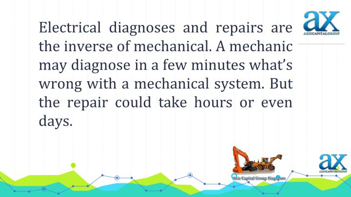 Electrical diagnoses and repairs are the inverse of mechanical. A mechanic may diagnose in a few minutes what's wrong with a mechanical system. But the repair could take hours or even days.