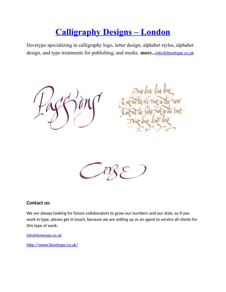 Calligraphy Designs – London