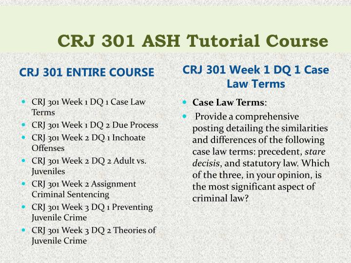 Crj 301 ash tutorial course1