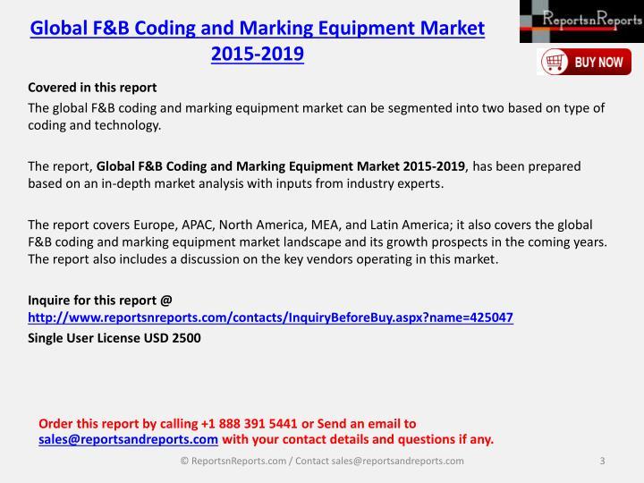 Global F&B Coding and Marking Equipment Market 2015-2019
