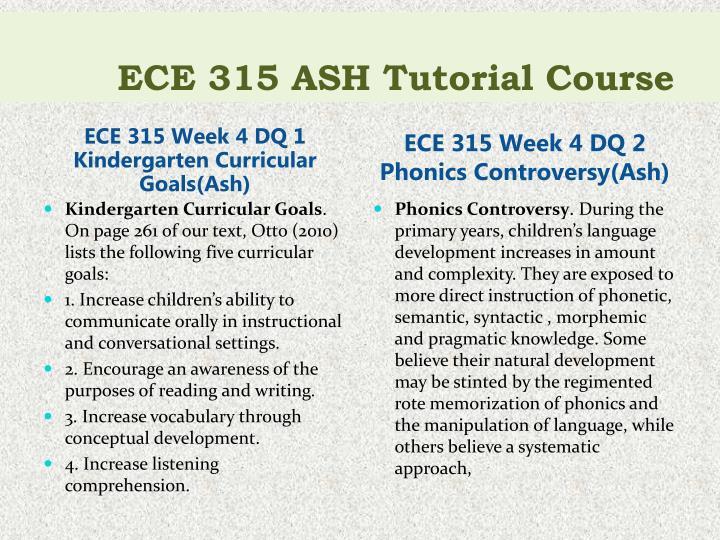 ECE 315 ASH Tutorial Course