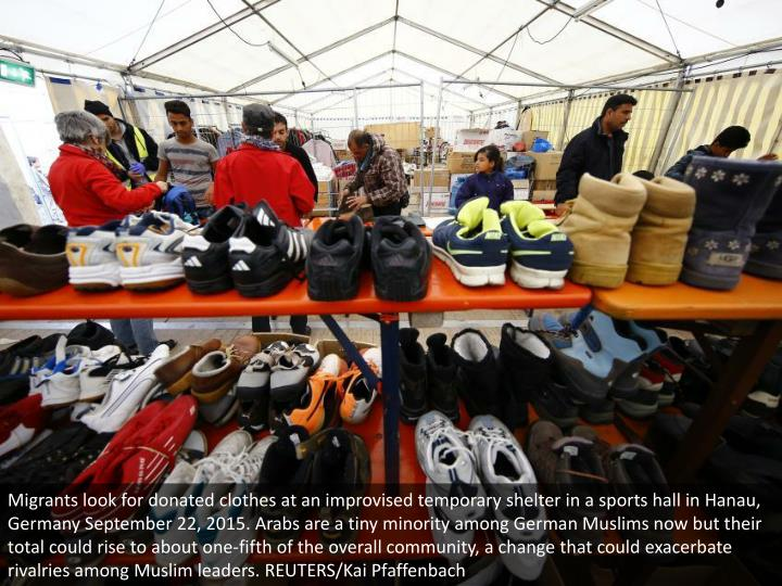Migrants look for donated clothes at an improvised temporary shelter in a sports hall in Hanau, Germany September 22, 2015. Arabs are a tiny minority among German Muslims now but their total could rise to about one-fifth of the overall community, a change that could exacerbate rivalries among Muslim leaders. REUTERS/Kai Pfaffenbach