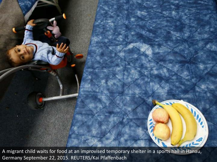A migrant child waits for food at an improvised temporary shelter in a sports hall in Hanau, Germany September 22, 2015. REUTERS/Kai Pfaffenbach