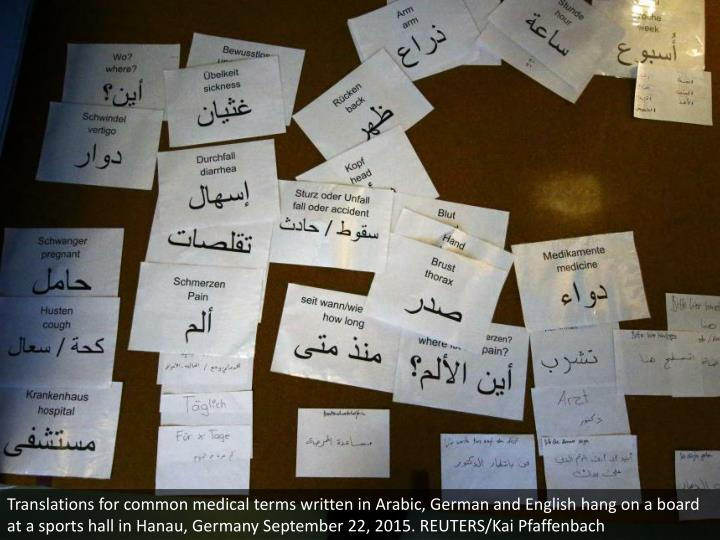 Translations for common medical terms written in Arabic, German and English hang on a board at a sports hall in Hanau, Germany September 22, 2015. REUTERS/Kai Pfaffenbach