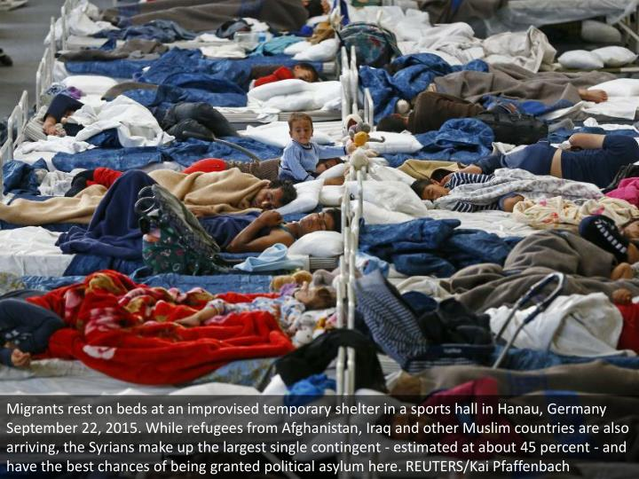 Migrants rest on beds at an improvised temporary shelter in a sports hall in Hanau, Germany September 22, 2015. While refugees from Afghanistan, Iraq and other Muslim countries are also arriving, the Syrians make up the largest single contingent - estimated at about 45 percent - and have the best chances of being granted political asylum here. REUTERS/Kai Pfaffenbach