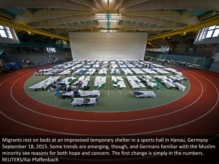 Migrants rest on beds at an improvised temporary shelter in a sports hall in Hanau, Germany September 18, 2015. Some trends are emerging, though, and Germans familiar with the Muslim minority see reasons for both hope and concern. The first change is simply in the numbers. REUTERS/Kai Pfaffenbach