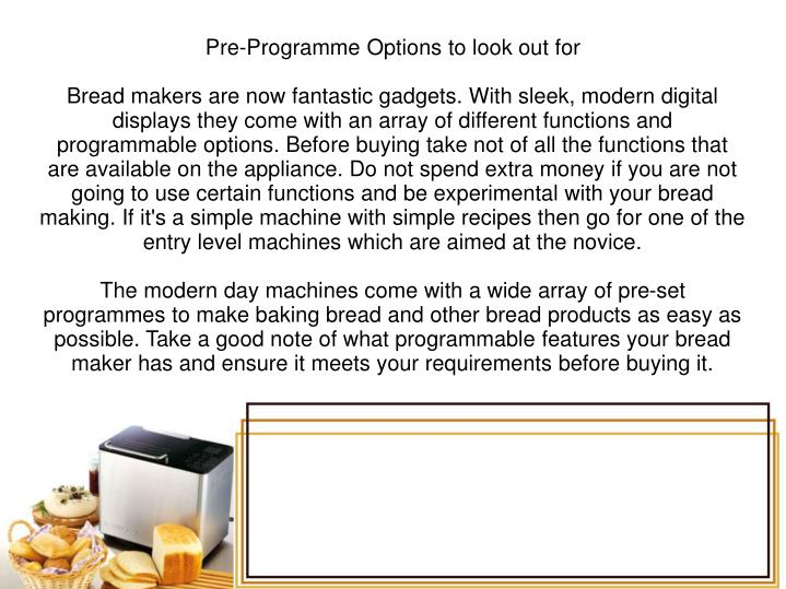 Pre-Programme Options to look out for