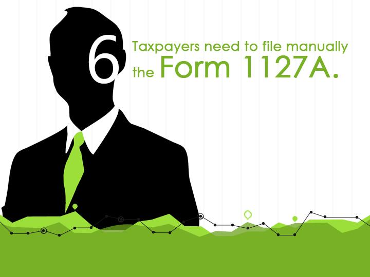Taxpayers need to file manually the Form 1127A.