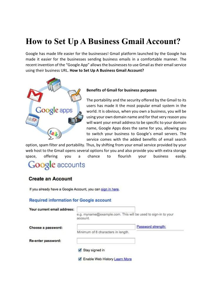 How to Set Up A Business Gmail Account?