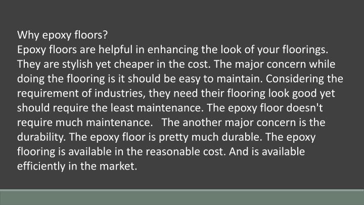 Why epoxy floors?