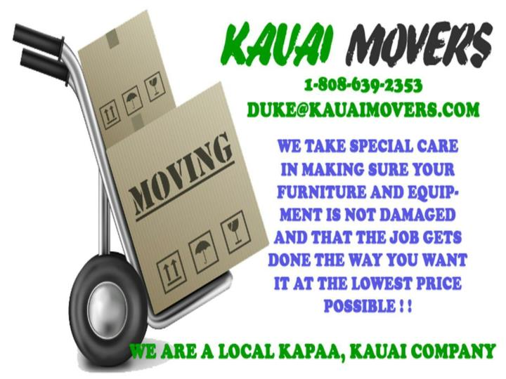 Kauai movers for local kapaa kauai company