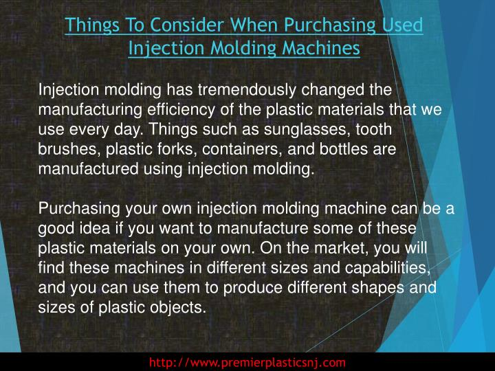 Things to consider when purchasing used injection molding machines1